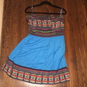 Strapless tribal sprint babydoll dress size Large